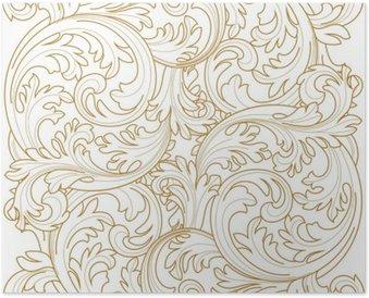 Plakát Golden archivních snímků scroll ornament rytina hranice květinový retro vzorek v antickém stylu acanthus zeleň vírová ozdobného výprava živel filigránským kaligrafie vektor | damašek - Vybrat