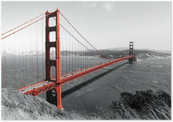Plakát Golden Gate Bridge Red Pop na B