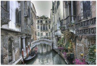 Plakát Gondel, Palazzi und Bruecke, Venedig, Itálie