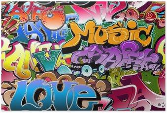 Plakát Graffiti bezešvé pozadí. Hip-hop art