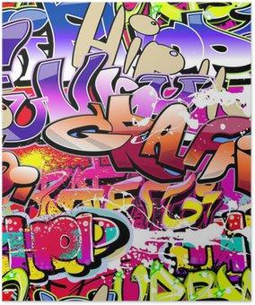 Plakát Graffiti bezešvé pozadí. Hip-hop urban art