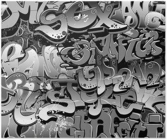 Plakát Graffiti bezešvé. Urban art textura