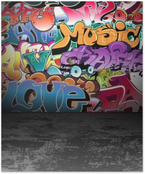 Plakát Graffiti stěna městské street art painting