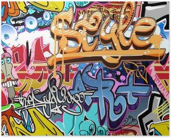Plakát Graffiti stěna. Urban art vektor pozadí. Bezešvé textury