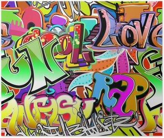 Plakát Graffiti stěna. Urban art vektor pozadí. Bezešvé vzor