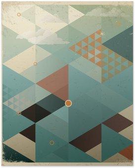 Plakát HD Abstraktní Retro Geometrické pozadí s mraky