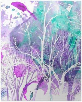 Plakát HD Abstraktní silueta stromů