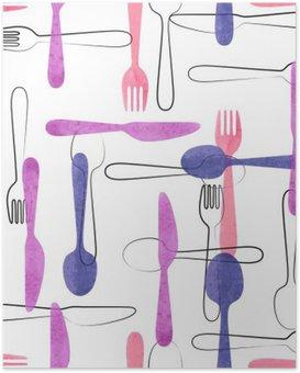Plakát HD Akvarel příbory bezešvé vzor v růžové a fialové barvy. Vektorové pozadí s lžíce, vidličky a nože.
