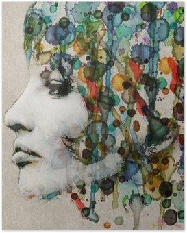 Plakat HD Akwarela kobiet profil