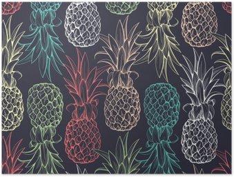 Plakát HD Ananas bezešvé vzor