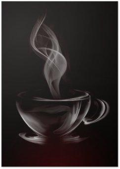 Plakat HD Artystycznych ilustracji dymu filiżanka kawy na czarno