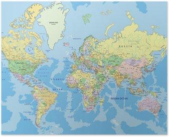 Plakat HD Bardzo szczegółowe polityczna mapa świata z etykietą.