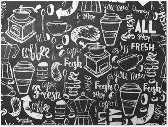 Plakát HD Bezešvé ručně kreslených kávy bezešvé vzor. Káva vzor s nápisem. vzor vektor Káva na tmavém pozadí pro balení, bannery.