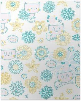 Plakat HD Cute powtarzalne z kreskówki, śmieszne koty ptaków i kwiatów