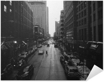 Plakat HD Czarno-Białe Ulice Chicago