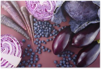 Plakat HD Fioletowe owoce i warzywa
