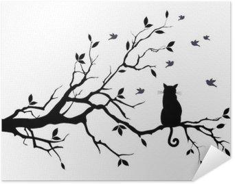 Plakat HD Kot na drzewie z ptakami, wektor