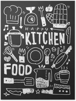 Plakát HD Kuchyň prvky čmáranice kreslené ručně řádek ikon, eps10