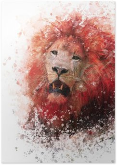 Plakat HD Lion Head akwarela
