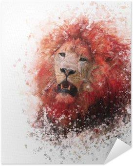 Plakát HD Lví hlava akvarel