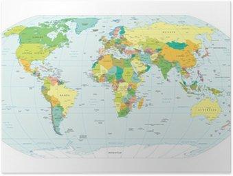 Plakát HD Mapa světa politické hranice