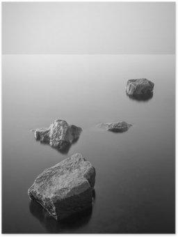 Plakát HD Minimalistické misty krajiny. Černý a bílý.