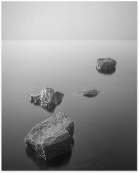 Plakat HD Minimalistyczny mglisty krajobraz. Czarny i biały.