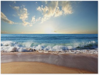 Plakat HD Morze zachód słońca