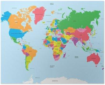 Plakát HD Politická mapa světa vektoru