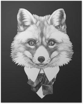 Plakát HD Portrét Fox v obleku. Ručně tažené ilustrace.