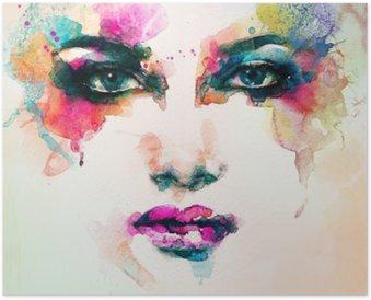 Plakát HD Portrét ženy .abstract akvarel .fashion pozadí