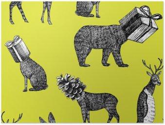 Plakat HD Ręcznie rysowane zwierzęta zima bez szwu tła