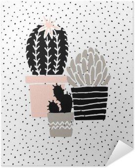 Plakát HD Ručně kreslenými Cactus Plakát