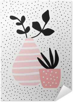 Plakát HD Růžová Váza a Pot s rostlinami