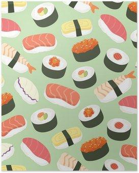Plakat HD Słodkie Sushi tło bez szwu deseń