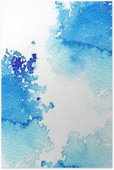 Plakat HD Streszczenie ciemny niebieski wodniste frame.Aquatic backdrop.Ink drawing.Watercolor ręcznie rysowane image.Wet splash.White tło.