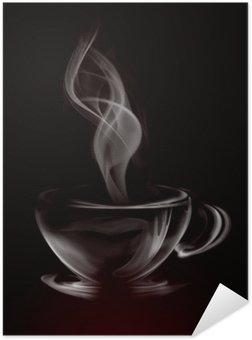 Plakát HD Umělecké Ilustrace Smoke šálek kávy na černé