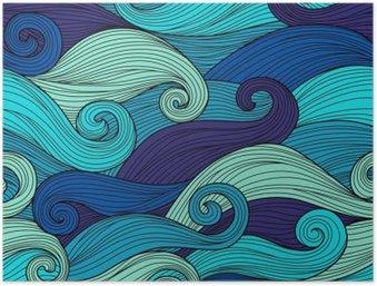 Plakát HD Vektorové bezproblémové vzorek s abstraktními vlnami