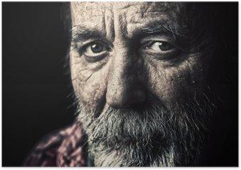 Plakát HD Velmi starý bezdomovec starší muž portrét