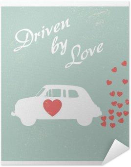 Plakát HD Vintage auto řízené lásky romantickou pohlednici design pro Valentine kartu.
