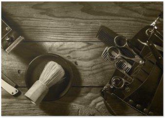 Plakat HD Vintage zestaw Barbershop.Toning sepii