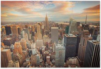 Plakát HD Západ slunce pohled na New York City při pohledu na Manhattanu
