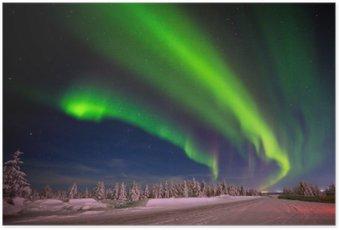 Plakát HD Zimní noční krajina s lesem, silniční a polární světla přes stromy.