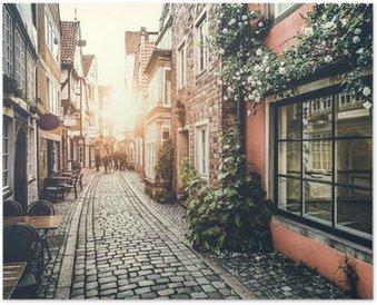 Plakát Historické ulice v Evropě, při západu slunce s retro vintage efektem
