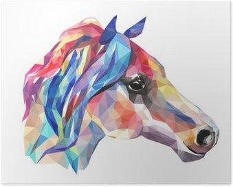Plakát Hlava koně, mozaika. Trendy ve stylu geometrické na bílém pozadí.