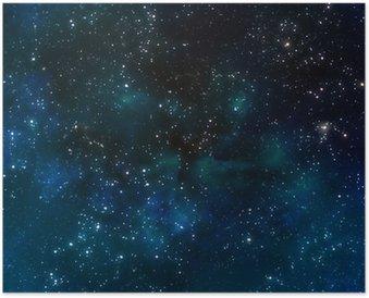 Plakát Hluboko ve vesmíru, nebo hvězdná noční oblohy