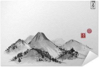 Plakát Hory ručně kreslenými s inkoustem na bílém pozadí. Obsahuje hieroglyfy - Zen, volnosti, přírodě, jasnost, velké požehnání. Tradiční orientální tušové malby sumi-e, u-sin, go-Hua.