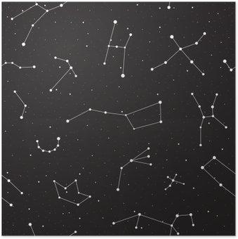 Plakát Hvězdná noc, bezešvé vzor, pozadí s hvězdami a souhvězdími, vektorové ilustrace