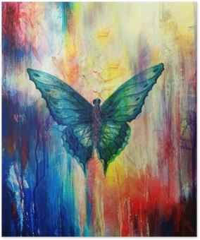 Plakát Ilustrace motýla, smíšený střední, abstraktní barvy pozadí.