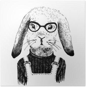 Plakát Ilustrace oblečená zajíček